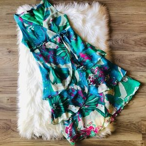 BCBGMaxAzria 100% Silk Floral Ruffle Dress size 4